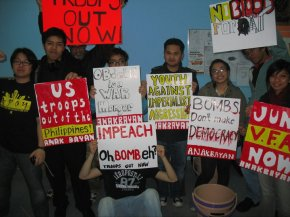 Filipino youth and students held a discussion and placard making at Action 21 in preparation for April 9 Anti-War Demonstration in NYC