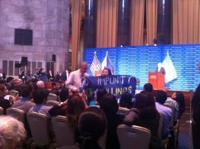 Anakbayan Confronts BS Aquino at Columbia University, September 2014